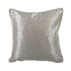Hand embroidered silver stripe cushion