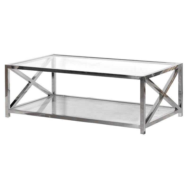 Glass and steel coffee table