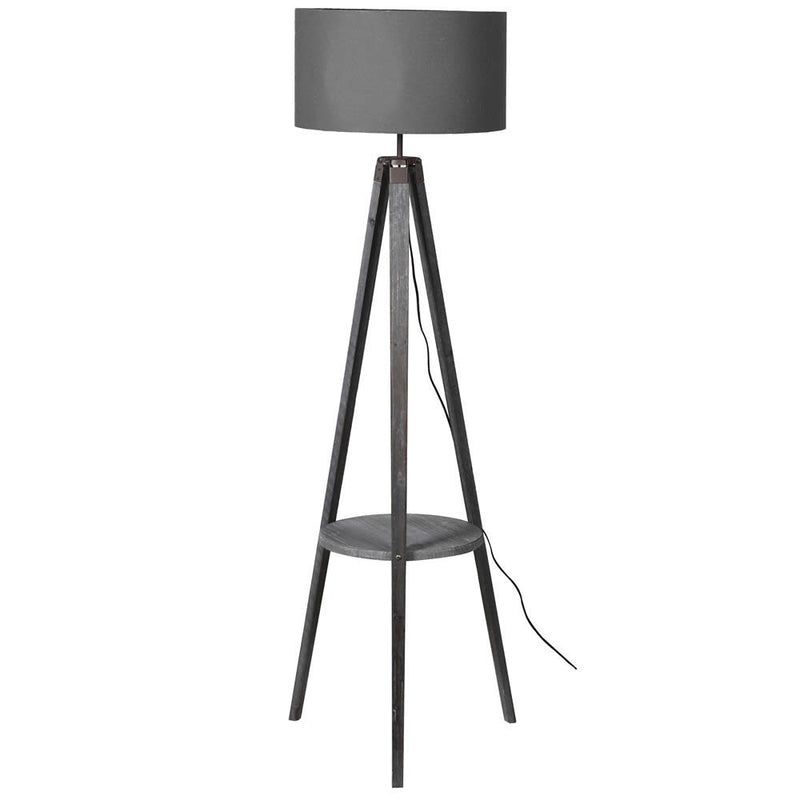 Grey wooden floor lamp with shelf