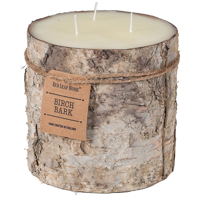 Large bark edged candle