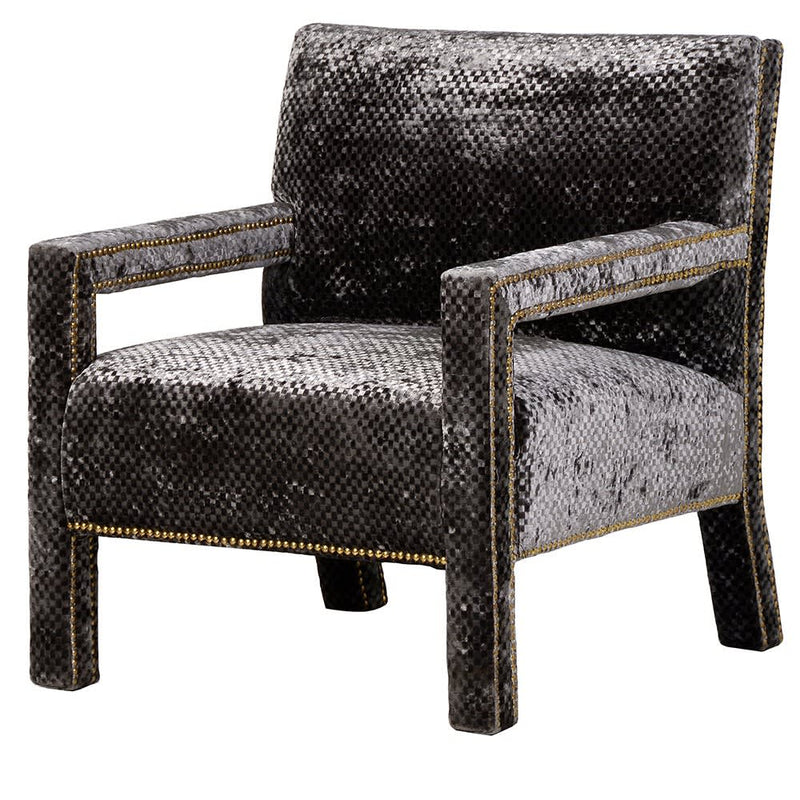 Gold studded textured armchair