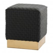 EMMIT BLACK BASKET WEAVE LEATHER OTTOMAN