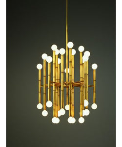 BAMBOO AGED BRASS MID CENTURY 30 LIGHT CHANDELIER