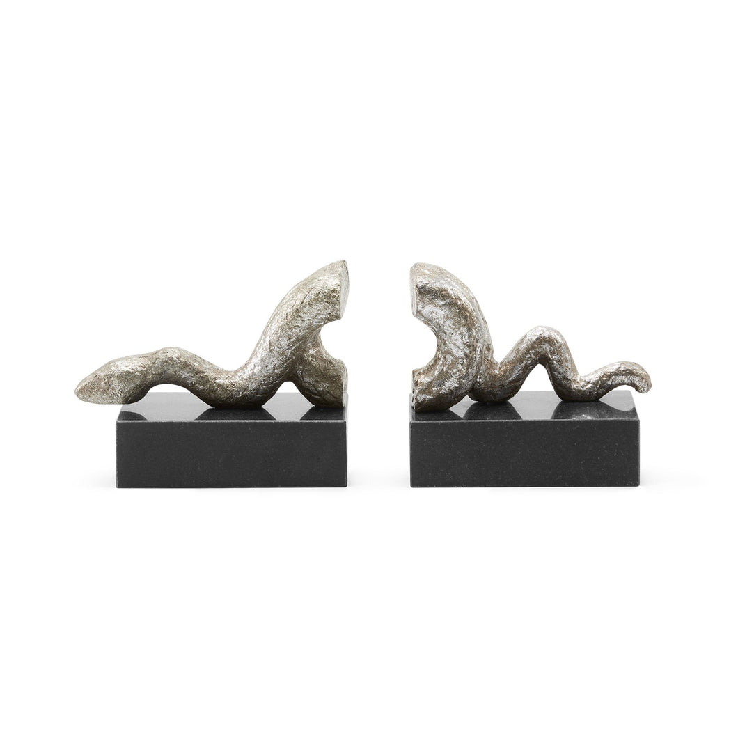 GILDED SERPENT BOOKENDS SILVER OR GOLD BUNGALOW 5