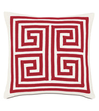 MEDITTERRANEAN RED MEANDROS OUTDOOR THROW PILLOW