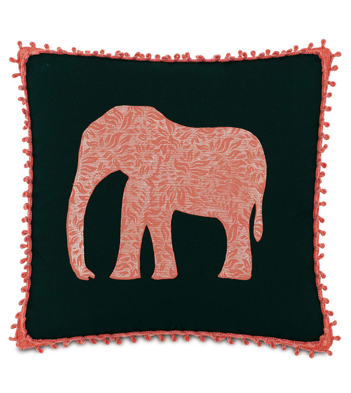 JAIPUR GARDENS ELEPHAS OUTDOOR THROW PILLOW