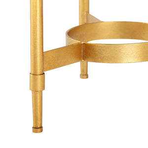 CLOVER SIDE TABLE GOLD LEAF AND WHITE MARBLE