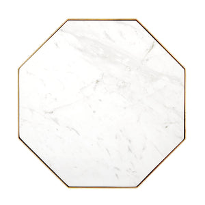 CRANE GOLD LEAF AND WHITE MARBLE ACCENT TABLE