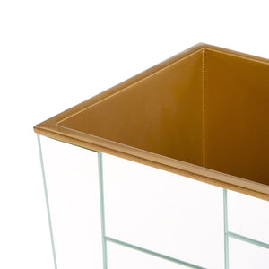 MODRIAN WASTE BIN MIRRORED TILE GOLD OR SILVER