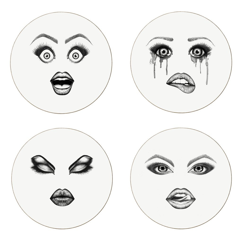 MOODY MUSE COASTERS BY LAUREN DICKINSON CLARKE LONDON SET OF FOUR
