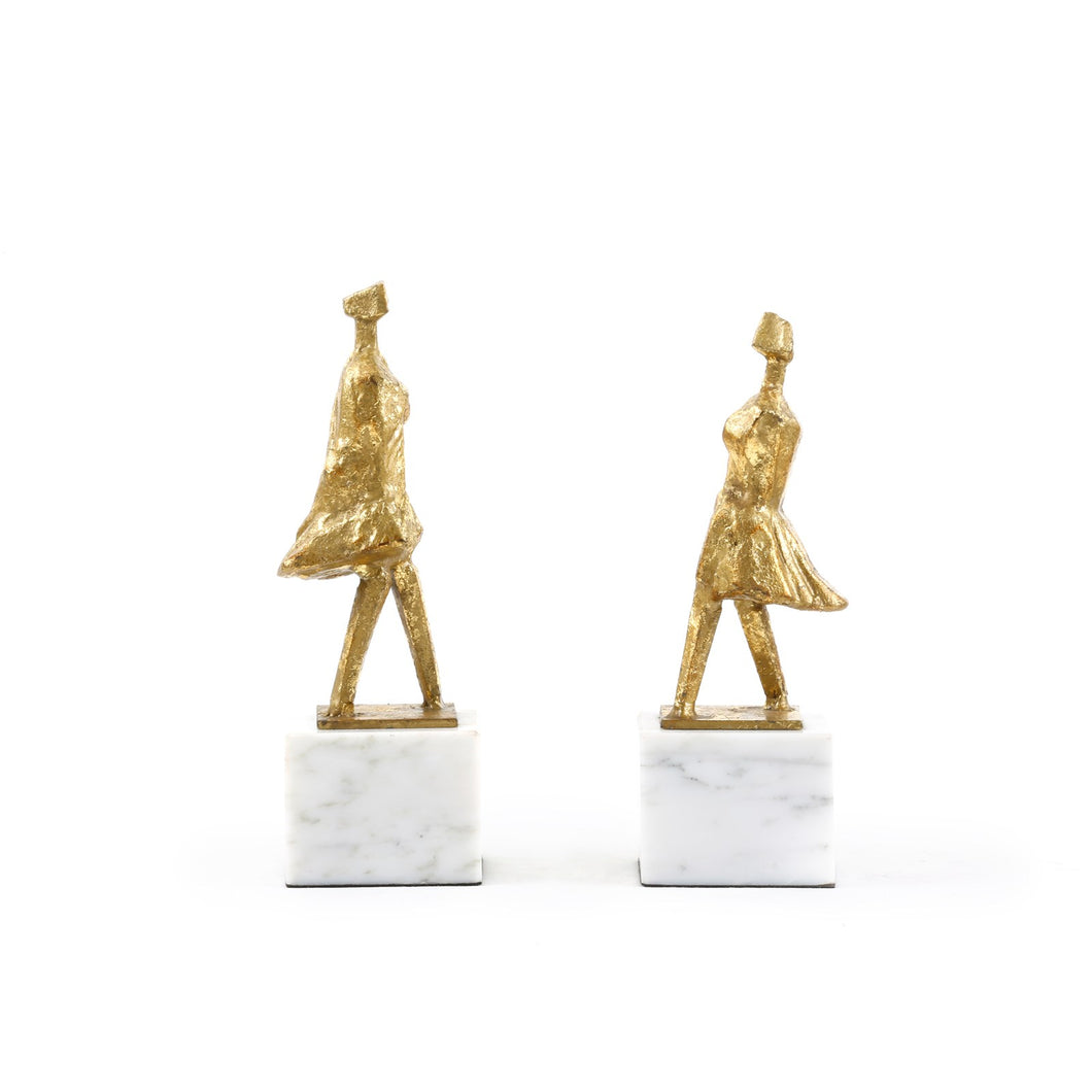 PASEO STATUE (PAIR), GOLD