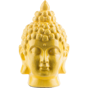 BUDDHA CERAMIC STATUE GREY, YELLOW, TEAL, BLUE
