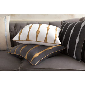 CANDICE OLSON GRAPHIC STRIPE PILLOW GRAPHITE OR WHITE 22'X22'