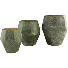NAYLA VASES SET OF THREE GOLD OR GREEN GLASS