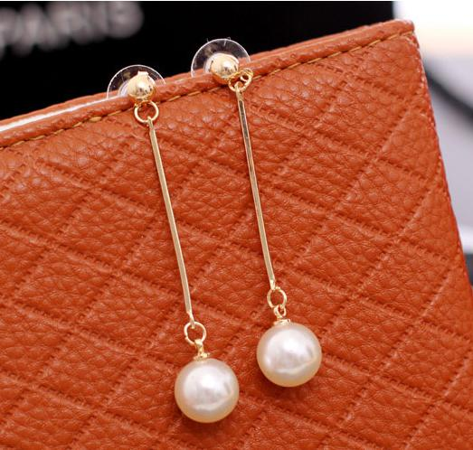 Women Long Drop Pearl Earrings