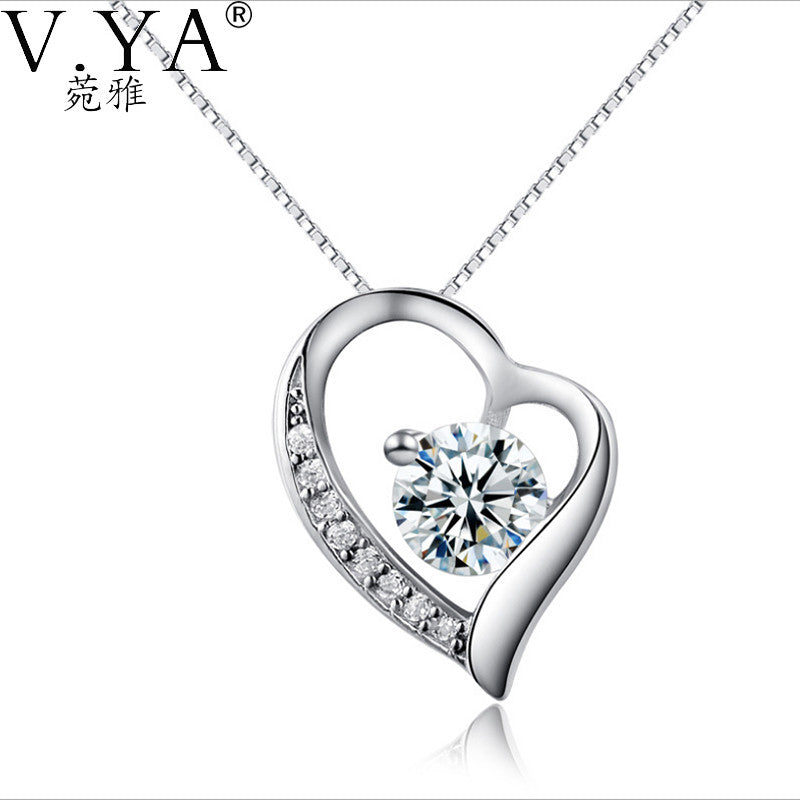 Silver Pendants Sterling Silver Pendant  White Purple Crystal Heart Pendants Necklaces for women Jewelry CP126