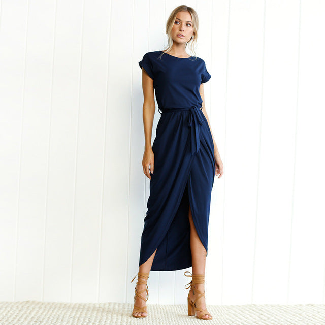 Casual Short Sleeve  Long Maxi Dress