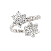 1.60ct 18k White Gold bead design dual flower ring