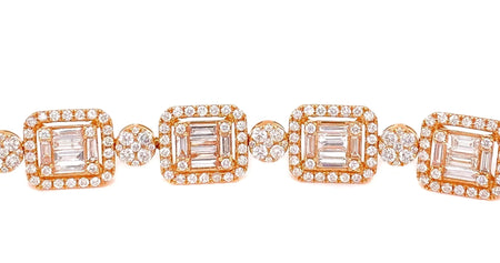 10.65ct 18k Rose Gold bracelet with Round & Baguette Diamonds