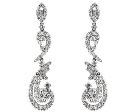 18k White Gold 3.75ct Earrings