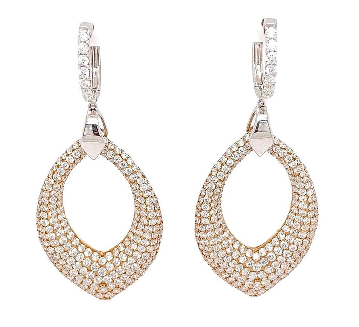 11.98ct two tone pave chandelier earrings