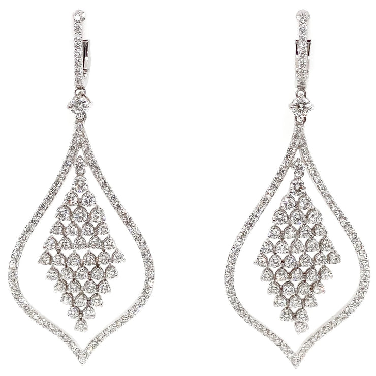 14k White Gold Chandelier Earrings with 4.75cts
