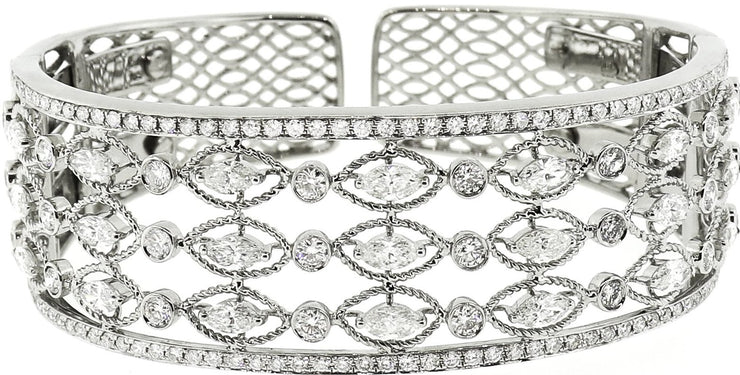 White Gold & Diamond Mesh Style Bangle