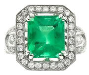 Art Deco Style Emerald & Diamond Cocktail Ring