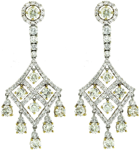 Twp Tone Gold & Light Yellow Diamond Chandelier Earrings