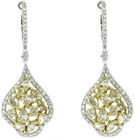 Two Tone Fancy Light Yellow Diamond Chandelier Earrings