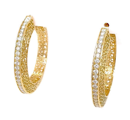 2.09ct 14k yellow gold ornate flower design hoop earrings
