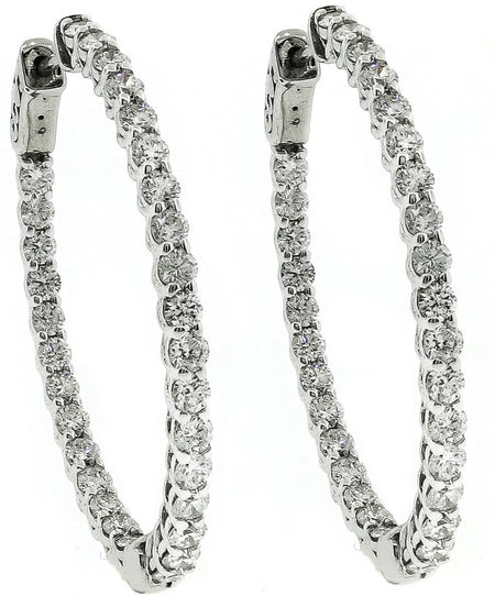 White Gold & Diamond Hoop Earrings