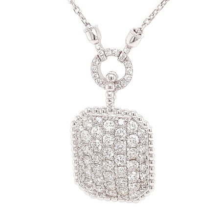 4.50ct 14k White Gold Pave style Pendant with beaded design surrounds