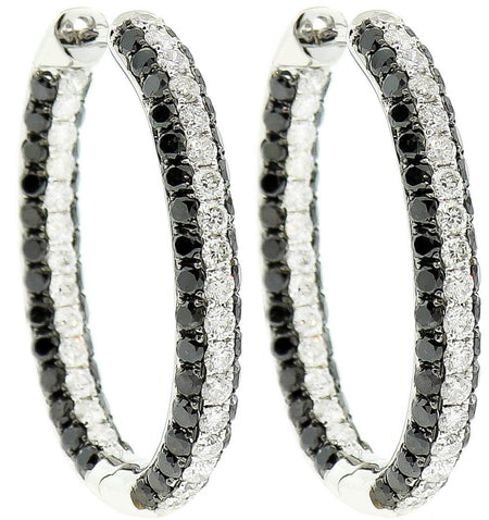 White Gold, Black & White Diamond Oval Hoop Earrings