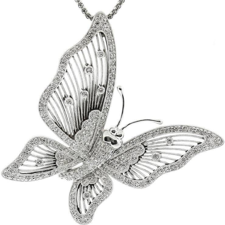 White Gold & Diamond Butterfly Pendant