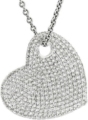 White Gold & Diamond Abstract Heart Shaped Pendant