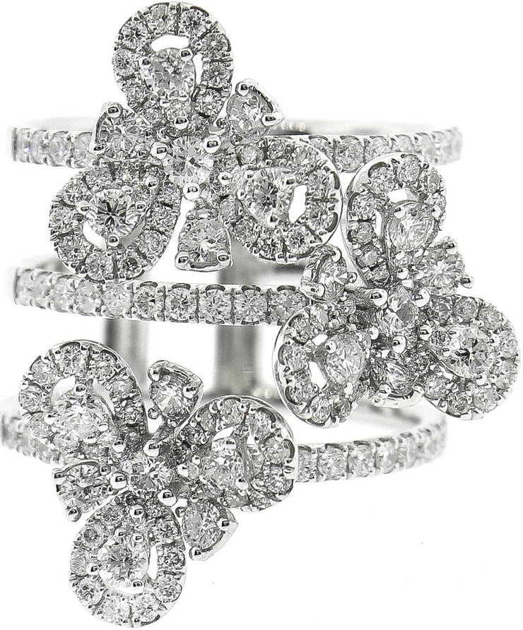White Gold & Diamond Flower Style 3 Row Cocktail Ring