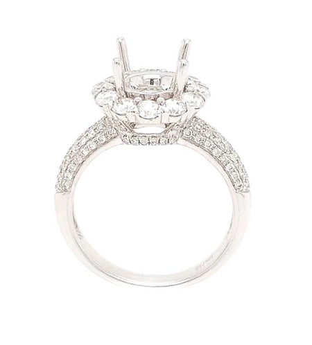 1.40CT 18K White Gold Engagement setting with halo and pave shank