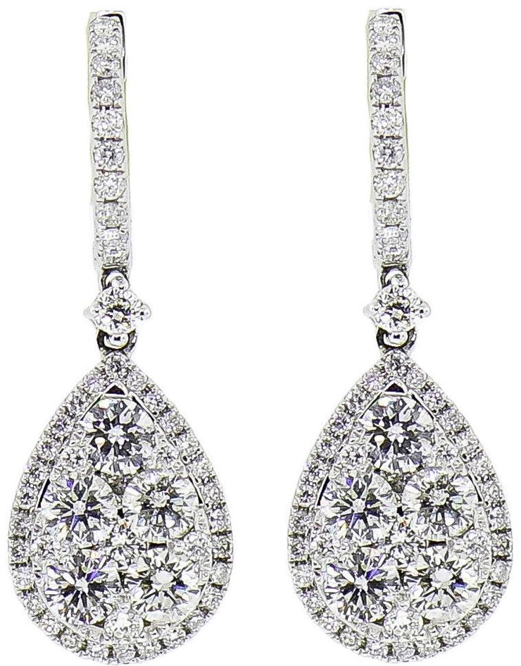 Tear Drop White Gold & Diamond Earrings