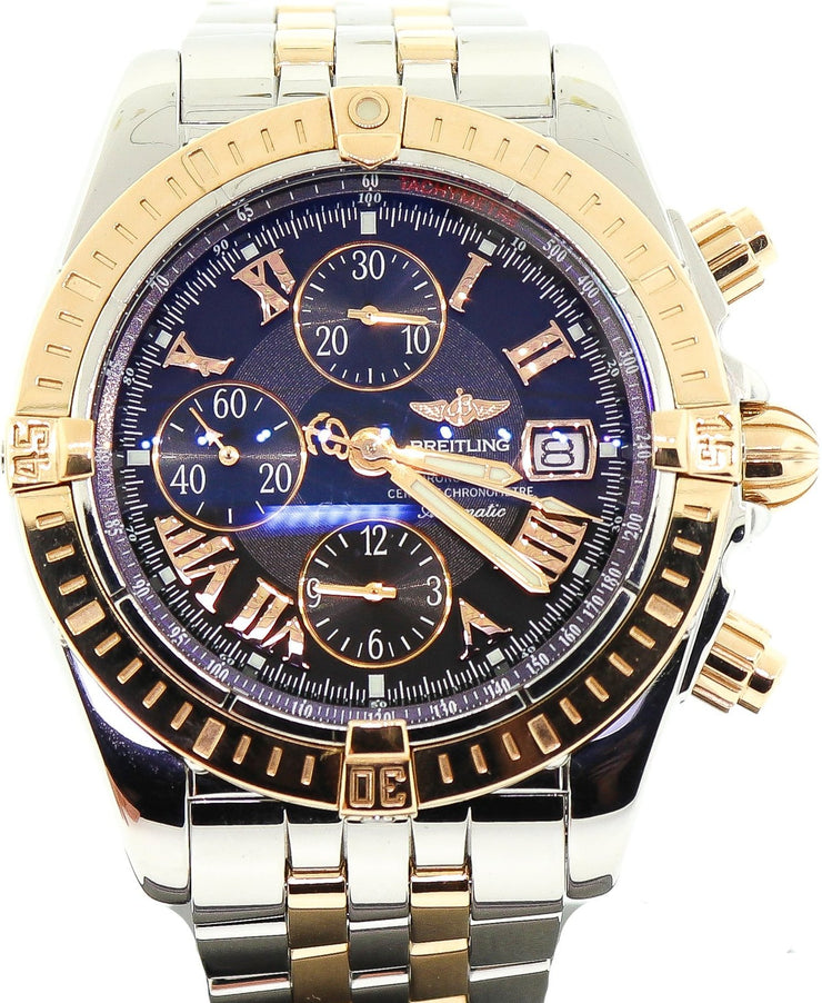 Breitling Chronomat Evolution Chronograph 18k Rose Gold/Steel Mens Watch C13356