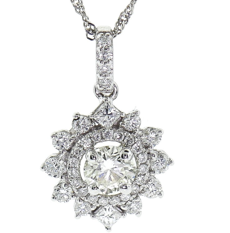 1.08ct White Gold & Diamond Pendant