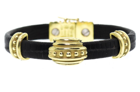 Vahe Naltchayan 18K Gold & Leather Bracelet