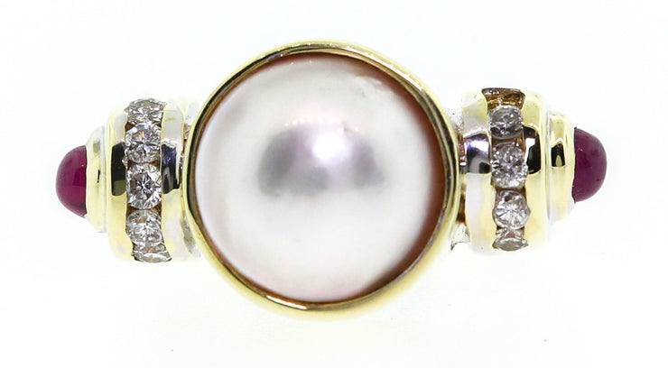 14k Pearl & Diamond Cocktail Ring