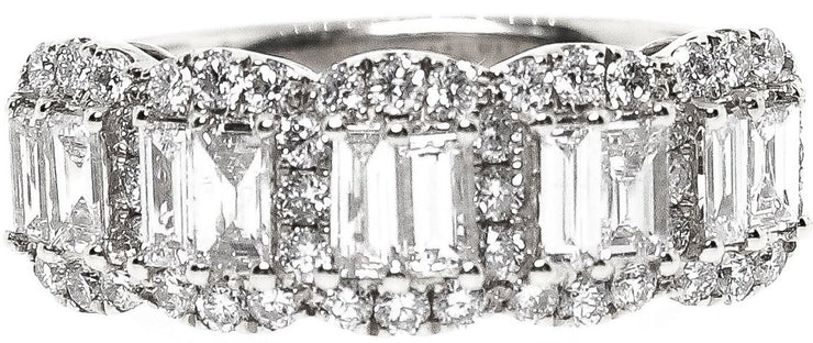 1.50ct Round & Baguette Diamond 18k White Gold Band