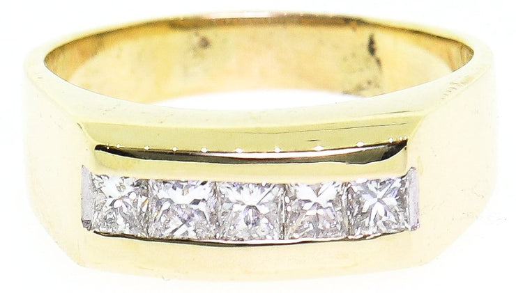 1.00ct 14k Yellow Gold Men's Wedding Band