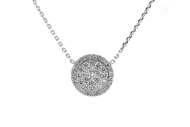 14k White Gold 1.20ct Diamond Disc Pendant