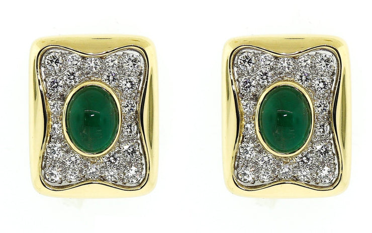 Diamond & Emerald French Clip Earrings