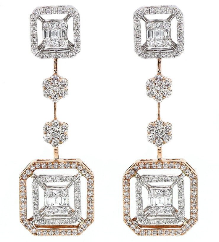 14k Two Tone 3.05ct Chandelier Earrings
