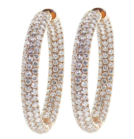 8.00ct 18k Rose Gold Pave Hoop Earrings