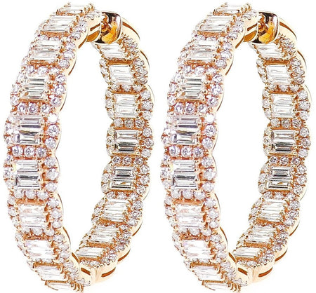 8.75ct Baguette 18k Rose Gold Hoops